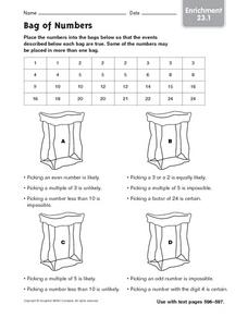 Bag of Numbers Worksheet