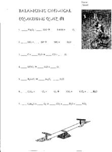 Balancing Chemical Equations Quiz #1 Worksheet