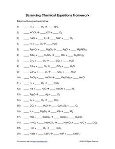 Worksheets Balancing Chemical Equations Worksheet 2 Answer Key balancing chemical equations worksheets with answers davezan worksheet 1 10 worksheets