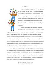 Ball games Worksheet