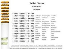 Ballet Terms Word Search Worksheet