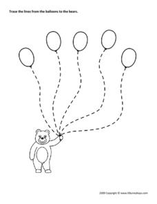 Balloons to Bear Trace Worksheet
