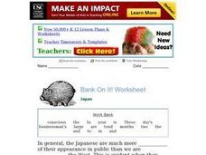 Bank On It! Japan Worksheet