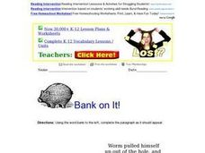 Bank On It! Worm, fiction Worksheet