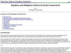 Baptists and Religious Liberty in Early Connecticut Lesson Plan