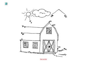 Barn Dot to Dot - Skip Counting by 10 Worksheet