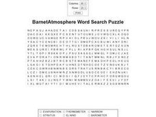 Barnet Atmosphere Adv Word Search Puzzle Worksheet