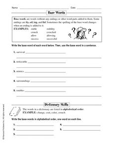 Base Words Worksheet