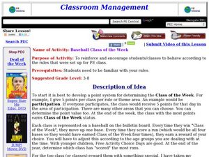 Baseball Class of the Week Lesson Plan