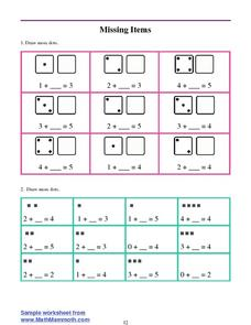 Basic Addition Practice: Missing Items Worksheet