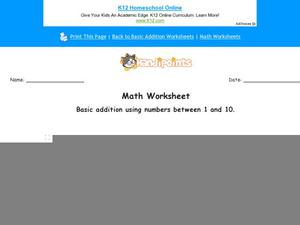 Basic Addition Using Numbers Between 1 and 10: Part 2 Worksheet