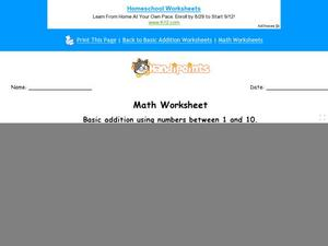 Basic Addition Using Numbers Between 1 and 10 Worksheet