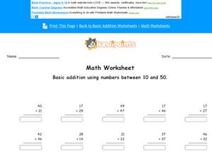 Basic Addition Using Numbers Between 10 and 50 Worksheet