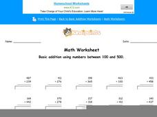Basic Addition Using Numbers Between 100 and 500: Part 1 Worksheet