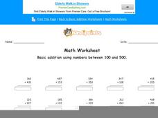 Basic Addition Using Numbers Between 100 and 500 Worksheet