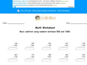 Basic Addition Using Numbers Between 500 and 1000 Worksheet
