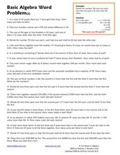 Basic Algebra Word Problem Worksheet