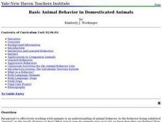 Basic Animal Behavior in Domesticated Animals Lesson Plan