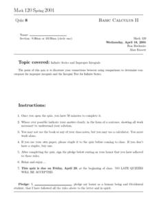 Basic Calculus II: Quiz 8 Worksheet