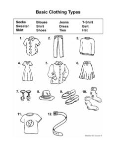 Basic Clothing Types Worksheet