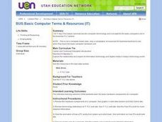Basic Computer Terms & Resources Lesson Plan