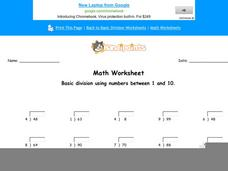 Basic Division Using Numbers Between 1 and 10: Part 4 Worksheet