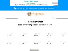 Basic Division Using Numbers Between 1 and 10: Part 9 Worksheet