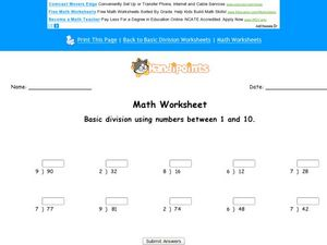 Basic Division Using Numbers Between 1 and 10 Worksheet