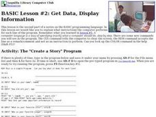BASIC Lesson: Get Data, Display Information Lesson Plan