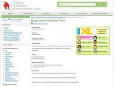Basic Math Review Test Lesson Plan