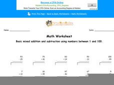 Basic Mixed Addition and Subtraction Using Numbers Between 1 and 100: Part 7 Worksheet
