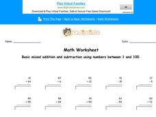 Basic Mixed Addition and Subtraction Using Numbers Between 1 and 100: Part 8 Worksheet