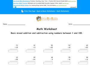 Basic Mixed Addition and Subtraction Using Numbers Between 1 and 100 Worksheet