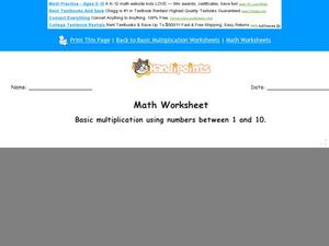Basic Multiplication Using Numbers 1 and 10 Worksheet