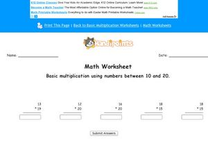 Basic Multiplication Using Numbers 10-20 Worksheet