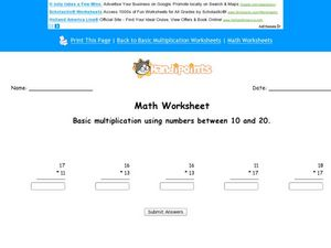 Basic Multiplication Using Numbers Between 10 and 20 Worksheet