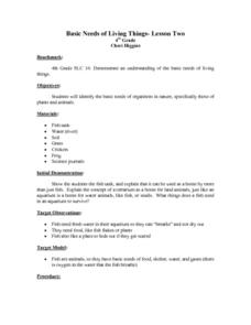 Basic Needs of Living Things-Lesson Two Lesson Plan