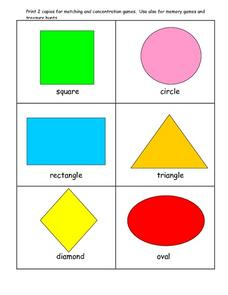 Basic Shape Cards for Memory Games and Treasure Hunts Worksheet
