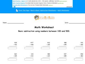 Basic Subtraction Using Numbers Between 100 and 500 Worksheet