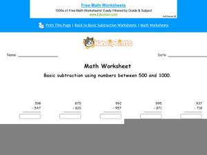 Basic Subtraction Using Numbers Between 500 and 1000: Part 10 Worksheet