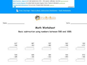 Basic Subtraction Using Numbers Between 500 and 1000 Worksheet