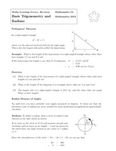 basic trigonometry and radians 9th 12th grade worksheet lesson planet. Black Bedroom Furniture Sets. Home Design Ideas
