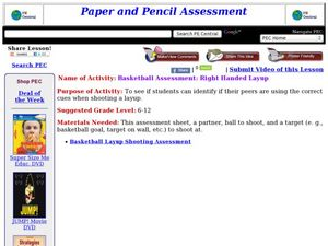 Basketball Assessment: Right Handed Layup Lesson Plan