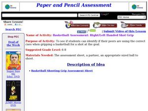 Basketball Assessment: Right/Left Handed Shot Grip Lesson Plan