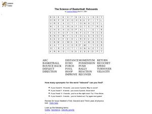 Basketball Word Search Worksheet