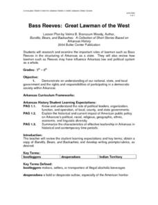 Bass Reeves: Great Lawman of the West Lesson Plan