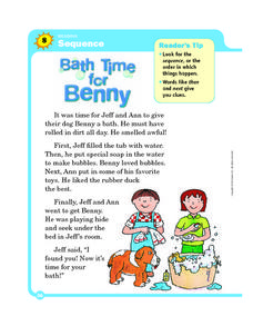 Bath Time for Benny (Sequence) Worksheet
