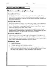 Batteries and Emerging Technology Worksheet
