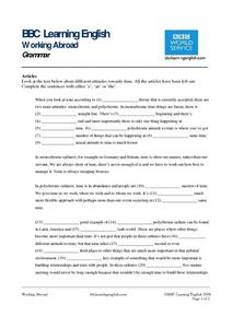 BBC Learning English, Grammar (Articles) Worksheet