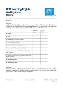 BBC Learning English, Speaking (Discussion) Worksheet